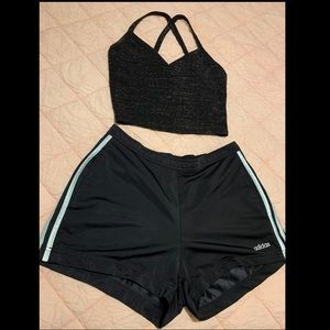 Forever21 tank top w/ adidas shorts